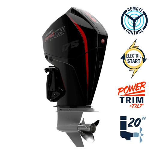 """New Mercury 175L Pro XS 4.8"""" 1.85  20"""" Shaft Power Trim & Tilt Remote Outboard 11750001A"""