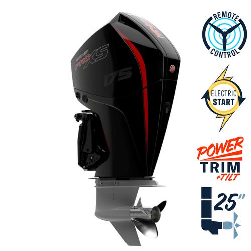 "New Mercury 175XL Pro XS 4.8"" 1.85  25"" Shaft Power Trim & Tilt Remote Outboard 11750002A"