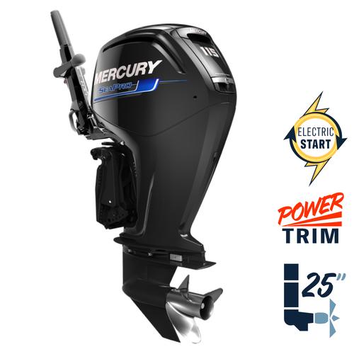 "New Mercury 115EXLHPT SeaPro Command Thrust Tiller  (with new advanced tiller)   25"" Shaft Electric Start Power Trim & Tilt Tiller Outboard 1116F6TED"