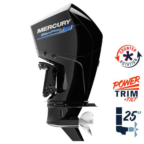 """New Mercury 225CXL SeaPro 5.44"""" 1.75  25"""" Shaft Power Trim & Tilt Remote Outboard 12250041A"""