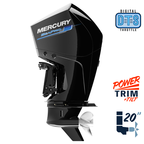 "New Mercury 225L SeaPro DTS 5.44"" 1.75  20"" Shaft Power Trim & Tilt Outboard 12250036A"
