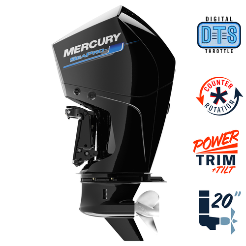 "New Mercury 225CL SeaPro DTS 5.44"" 1.75  20"" Shaft Power Trim & Tilt Outboard 12250038A"