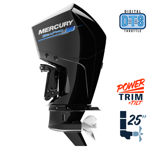 "New Mercury 225XL SeaPro DTS 5.44"" 1.75  25"" Shaft Power Trim & Tilt Outboard 12250040A"