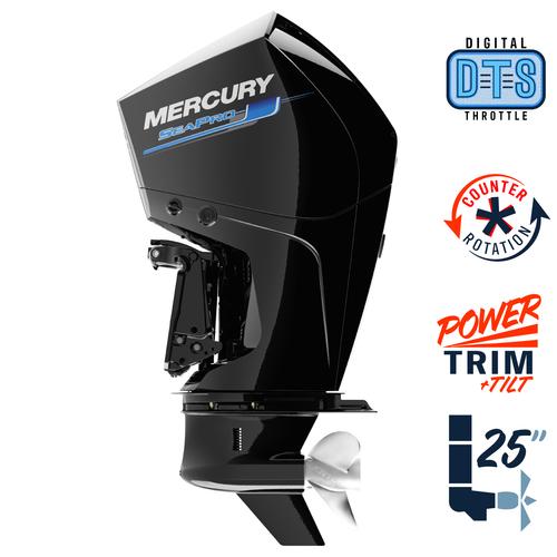 "New Mercury 225CXL SeaPro DTS 5.44"" 1.75  25"" Shaft Power Trim & Tilt Outboard 12250042A"