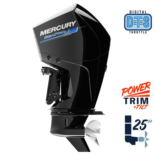 "New Mercury 250XL SeaPro DTS 5.44"" 1.75  25"" Shaft Power Trim & Tilt Outboard 12500040A"
