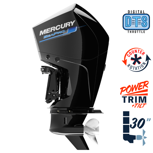"New Mercury 300CXXL SeaPro DTS 5.44"" 1.75  30"" Shaft Power Trim & Tilt Outboard 13000035A"