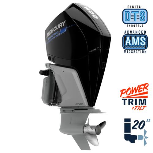 """New Mercury 300L SeaPro AMS 5.44"""" 1.75  20"""" Shaft Power Trim & Tilt Outboard 13000084A"""