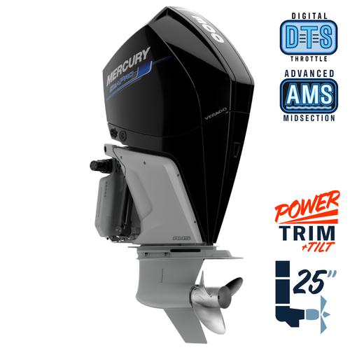 "New Mercury 300XL SeaPro AMS 5.44"" 1.75  25"" Shaft Power Trim & Tilt Outboard 13000088A"