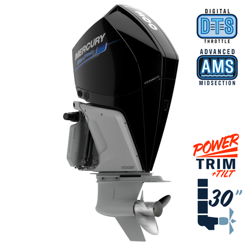 "New Mercury 300XXL SeaPro AMS 5.44"" 1.75  30"" Shaft Power Trim & Tilt Outboard 13000092A"