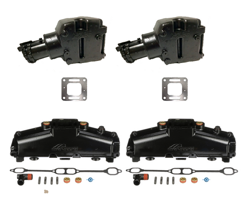 OEM MerCruiser 305/350 HD Coated Exhaust Manifold & Riser Kit - 5.7 / 5.0 / 6.2 (1986-2002)
