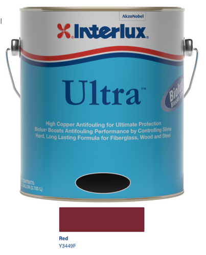 Interlux Ultra Antifouling Bottom Paint with Biolux- Red- Gallon 3449/F1