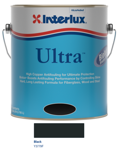 Interlux Ultra Antifouling Bottom Paint with Biolux- Black- Gallon 3779F/1