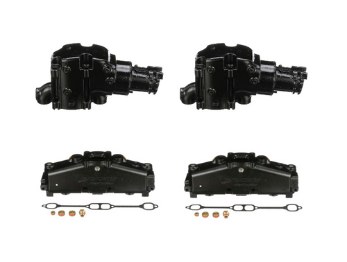 (7 Degree) Dry Joint OEM MerCruiser V8 350/305 Exhaust Manifold Kit  ( 2002-04 )