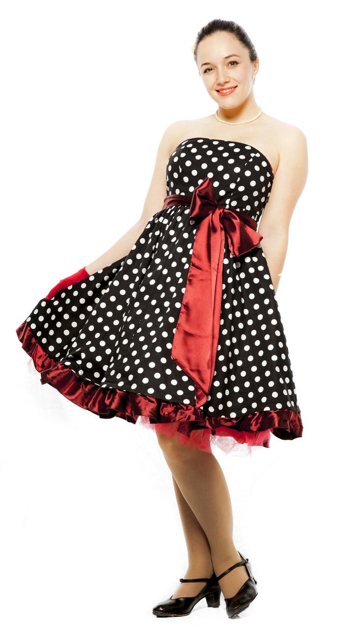 1950s Retro Pin Up Strapless Black And White Polka Dot Sash Dress By