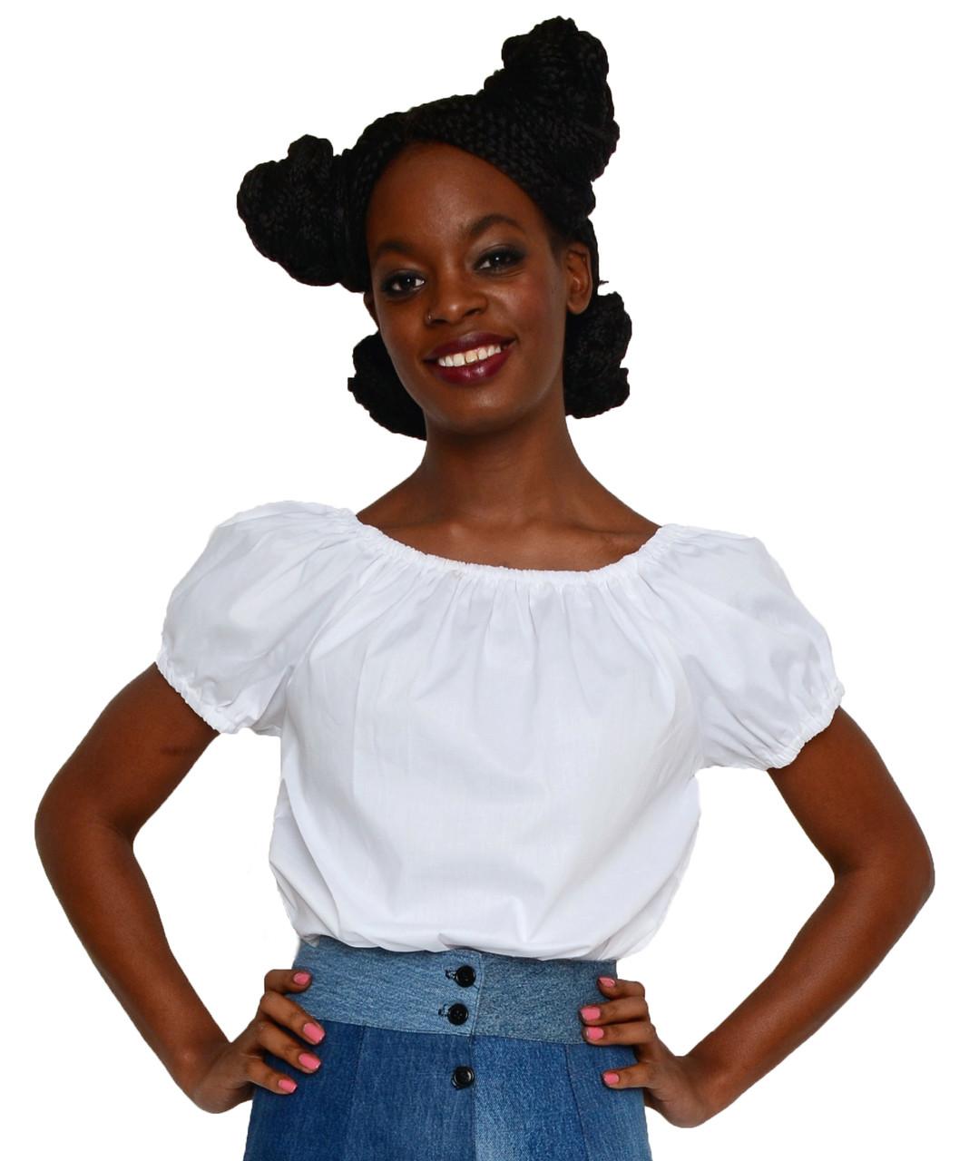 White Cotton Peasant Blouse Puff Sleeve Top Elastic Neckline