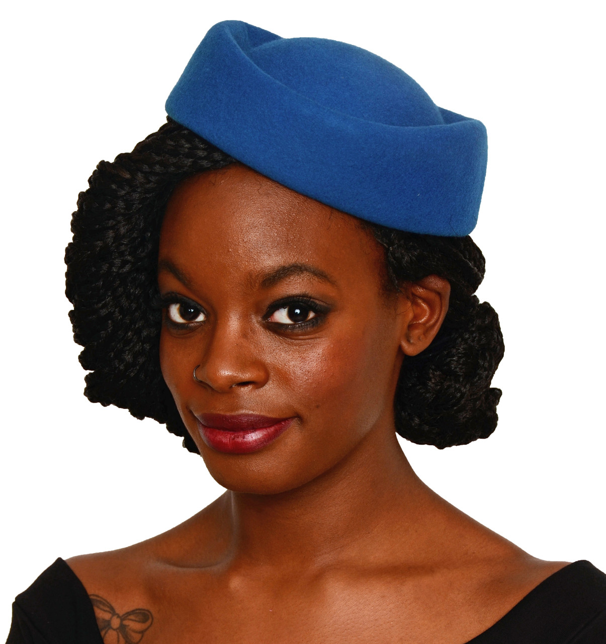 Hey Viv 50s Retro Pin Up Pillbox Hat in Blue d3901f51921