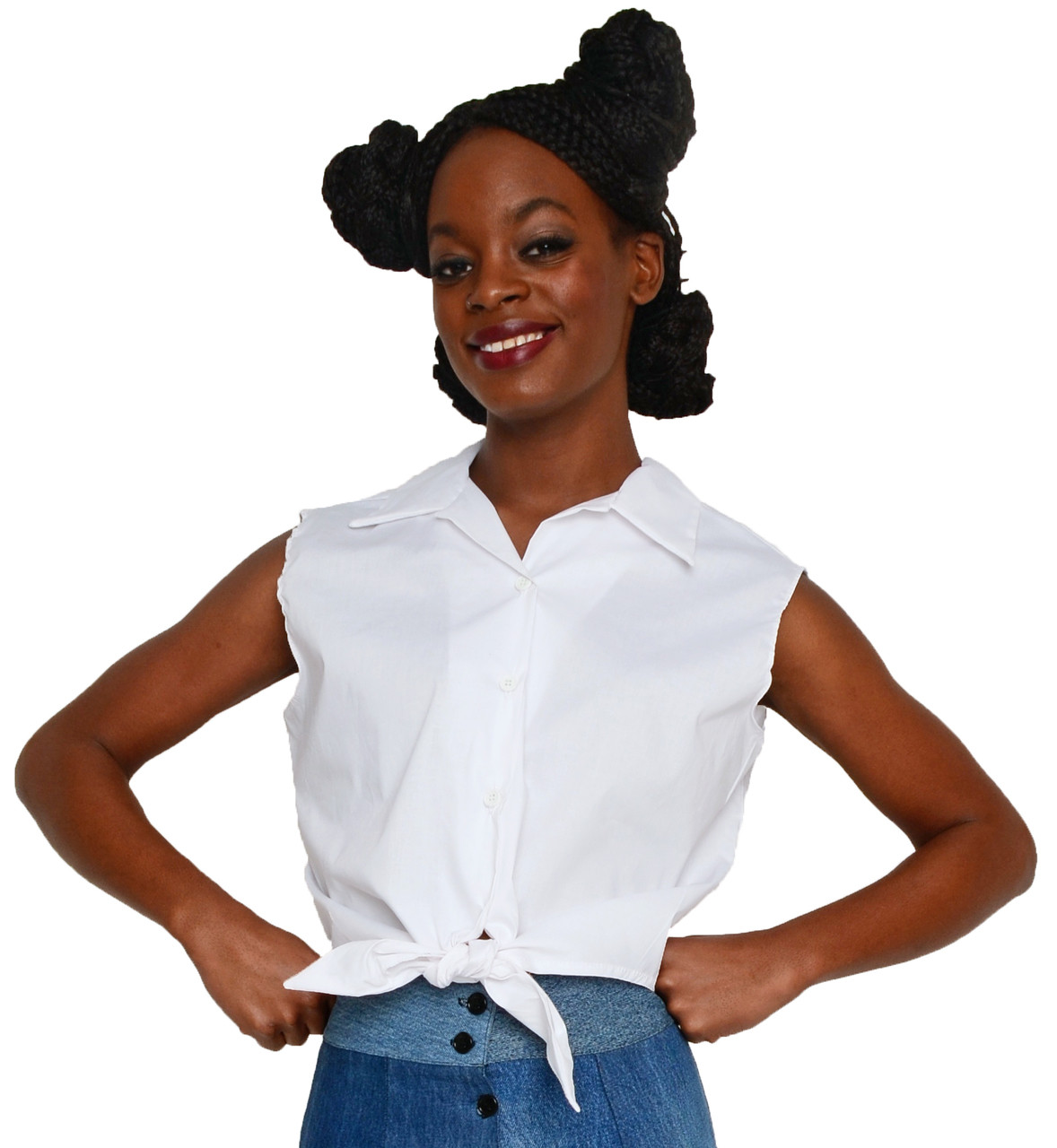 c8430b4e 50s Style Sleeveless Button Up Tie Front Blouse - White Cotton