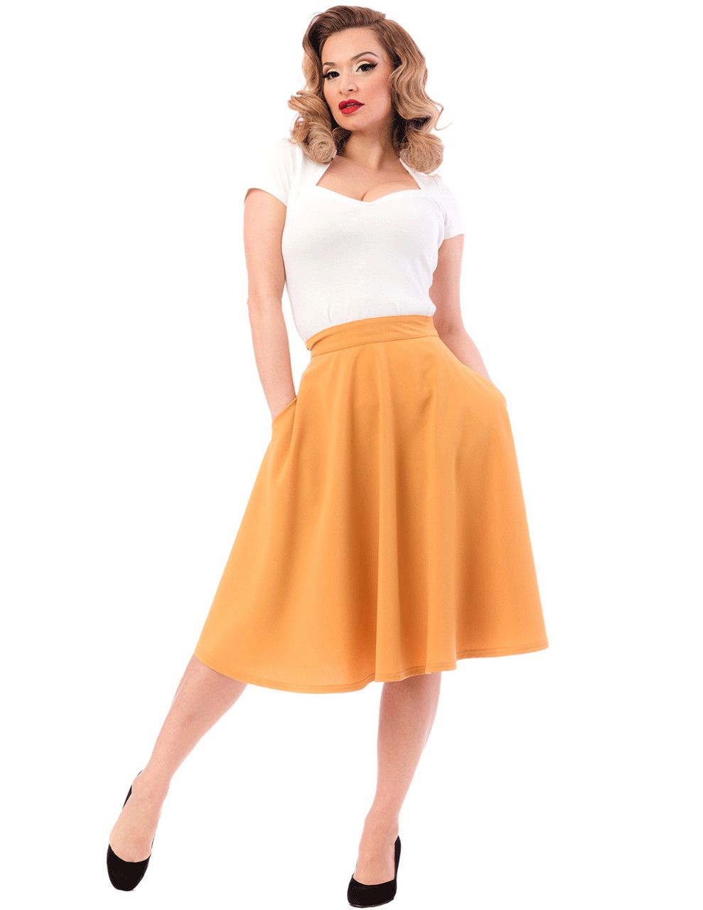 8a6185128 Mustard High Waist Thrills Skirt with Pockets by Steady Clothing