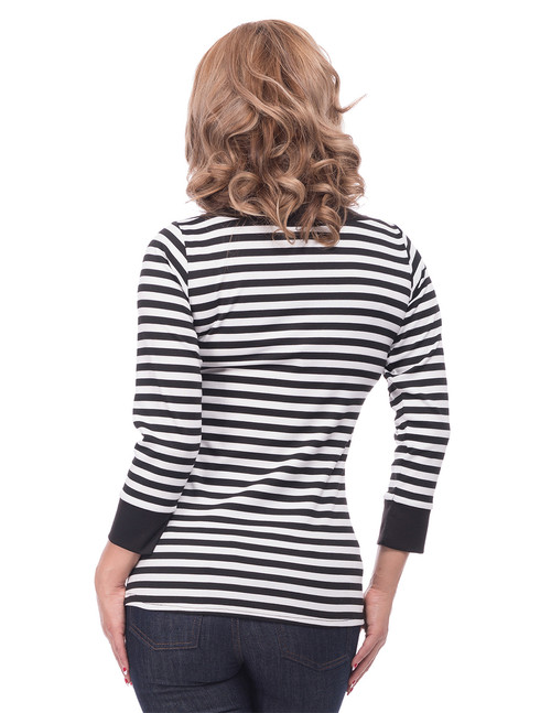 b980bb83cea5d5 Black and White Stripe Boat Neck Top with Bow Detail by Steady Clothing