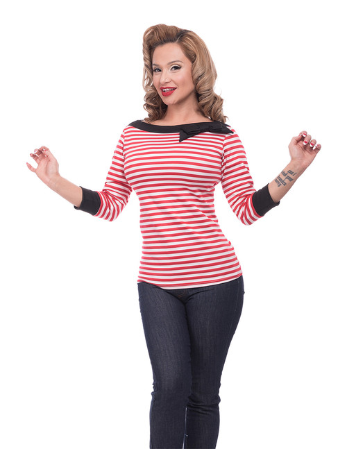 539bc0b244b640 Red and White Stripe Boat Neck Top with Bow Detail by Steady Clothing