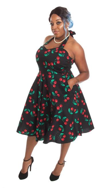c2a24e0d59b Rockabilly Pin Up Black Cherry Halter Party Dress - 1950s Retro ...