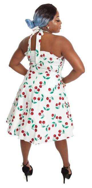 024f23733f2 Rockabilly Pin Up White Cherry Halter Party Dress - 1950s Retro ...