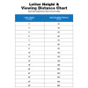 Letter height visibility chart
