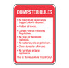 Dumpster Rules for Trash Sign