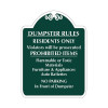 "Dumpster Rules Sign 18"" x 24"""