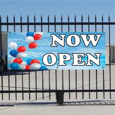 Now Open Banner - Balloon Sky