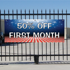 50 Percent Off First Month Banner - Patriotic