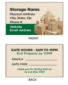Self Storage Business Cards