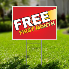 Free First Month for Self Storage Yard Sign -  Dash In