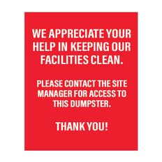 Devon Self Storage Dumpster Rules Sign