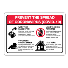 Prevent the Spread of Coronavirus Signs