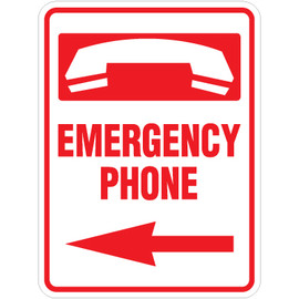 "Emergency Phone Left Arrow Sign - 18"" x 24"""