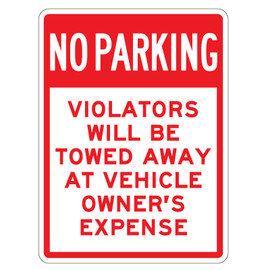 "No Parking Violators Will Be Towed Sign - 9"" x 12"""