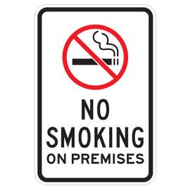 "No Smoking on Premises Sign with Symbol - 12"" x 18"""