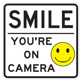 """Smile You Are On Camera Signs - 18"""" x 18"""""""