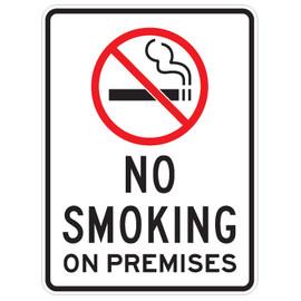 "No Smoking on Premises with Symbol Sign - 18"" x 24"""