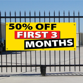 50 Percent Off First Three Months Banner - Festive