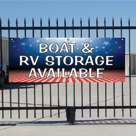 Boat & RV Storage Available Banner - Patriotic