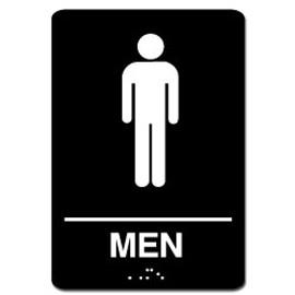 Men's ADA Restroom Sign Black