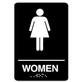 Womens Restroom ADA Sign Black