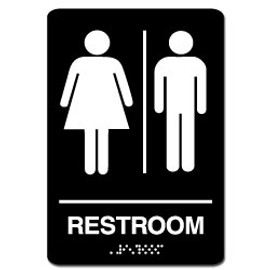 Unisex Restroom Sign Black