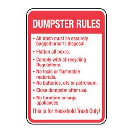 Dumpster Rules for Trash Sign