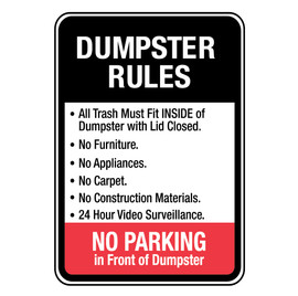Dumpster Rules for Trash Must Fit Inside Sign