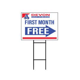 Devon Self Storage First Month Free Yard Sign