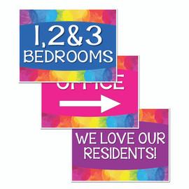 Colorful Apartment Bandit Signs