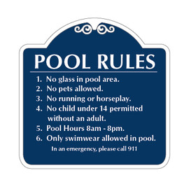 "Pool Rules Sign 24"" x 24"""